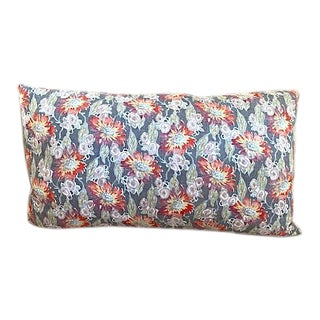Vintage French Floral Textile Lumbar Pillow For Sale