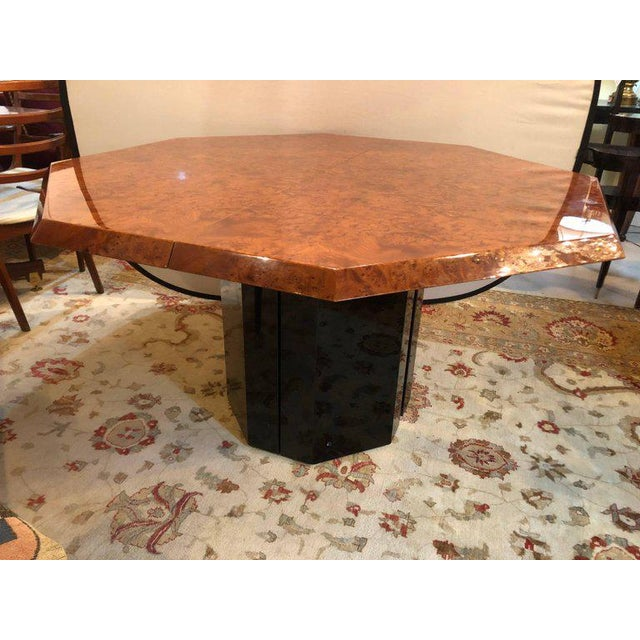 Mid Century Modern at its best, Milo Baughman For Thayer Coggin Mirror And Burl Walnut Octagonal Dining Table Shaped Top...
