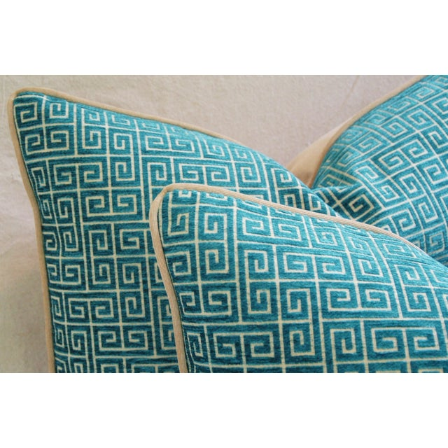 Designer Turquoise Greek Key Velvet Pillows - Pair - Image 4 of 8