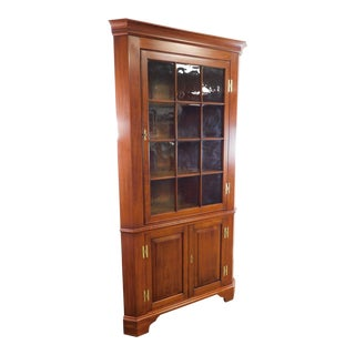 Henkel Harris Chippendale Style Cherry Corner Cabinet with Antique Glass For Sale