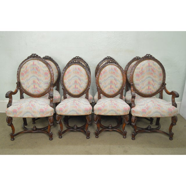 Antique French Louis XV Style Set of 8 Carved Walnut Dining Chairs AGE/COUNTRY OF ORIGIN – Approx 100 years, America...