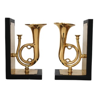 Sarreid Brass Trumpet Bookends - A Pair