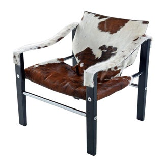 1970s Arkana Safari Sling Lounge Chair by Maurice Burke in New Cowhide Leather For Sale
