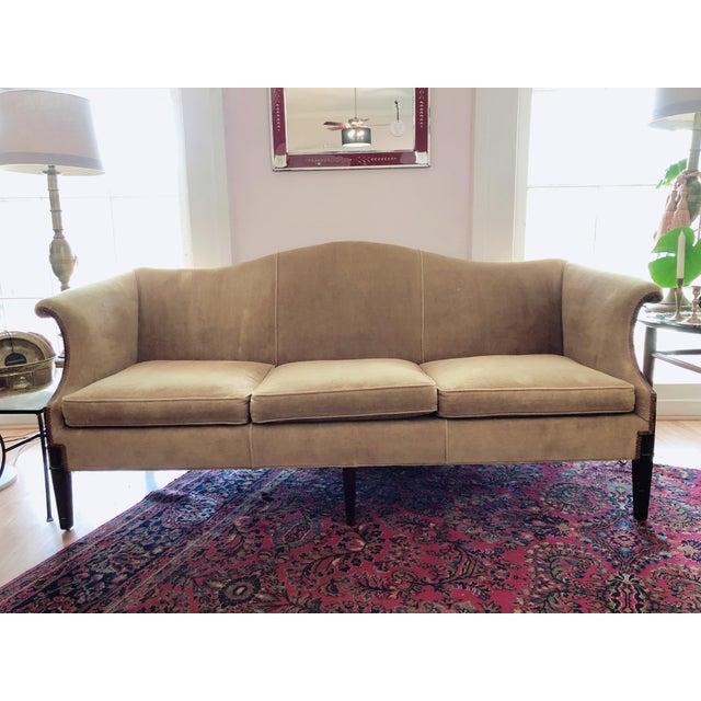 Vintage Tobacco Color Velvet Camel Back Sofa For Sale - Image 10 of 10