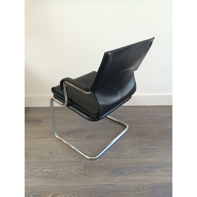 """Black Marcatre Black Leather & Chrome """"Uno"""" Chair For Sale - Image 8 of 10"""