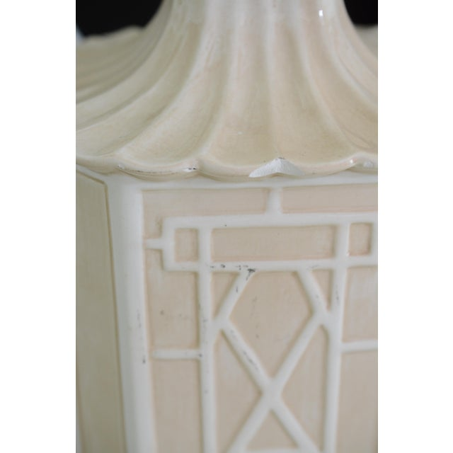 White Frederick Cooper Chinoiserie Table Lamps With Scalloped White Shades For Sale - Image 11 of 11