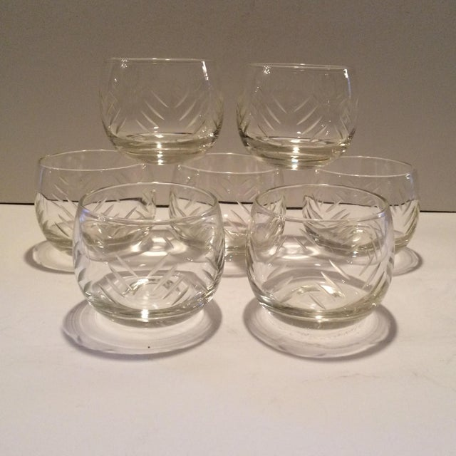 1930's Cut Crystal Roly Poly Glasses - Set of 7 For Sale - Image 11 of 11