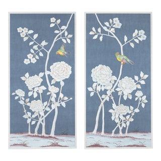 "Jardins en Fleur ""Brympton"" Chinoiserie Hand-Painted Silk Diptych by Simon Paul Scott Framed in White - a Pair For Sale"
