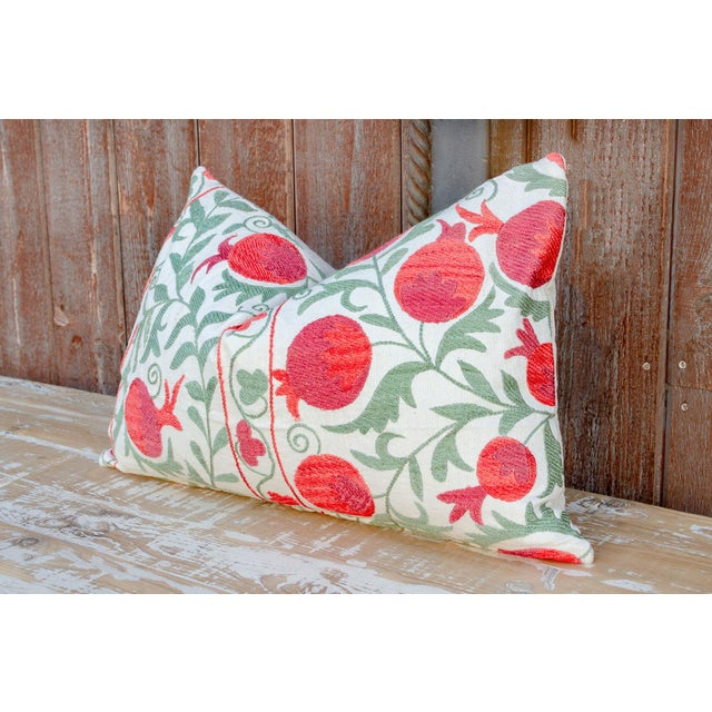 Boho Chic Pahi Pomegranate & Green Ivy Lumbar Suzani Pillow For Sale - Image 3 of 10