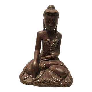 1960s Hand Carved Buddha in Wood For Sale