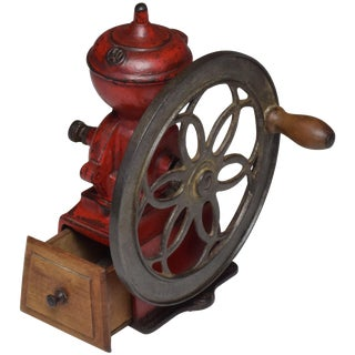 Antique Spanish Red Coffee Grinder For Sale
