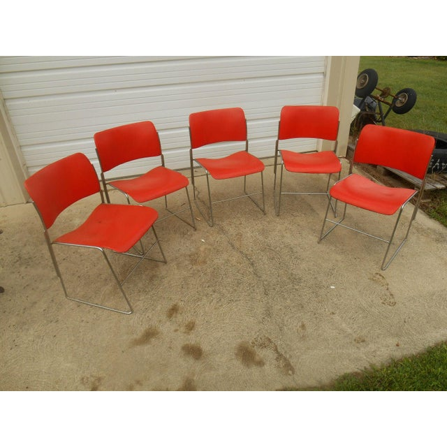 Set of 5 matching and stacking Vintage 1970s GF Business Furniture 40/4 Orange Chairs designed by David Rowland. These...