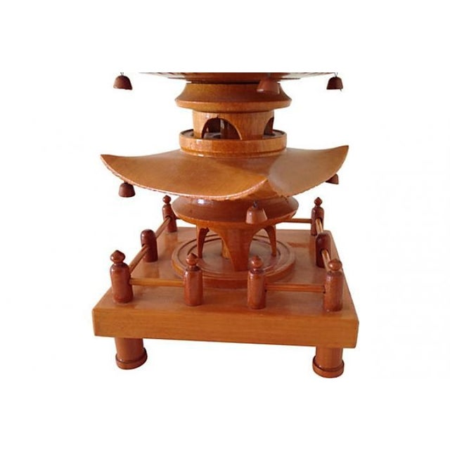 1940 Carved Wood Pagoda Sculpture For Sale - Image 4 of 6