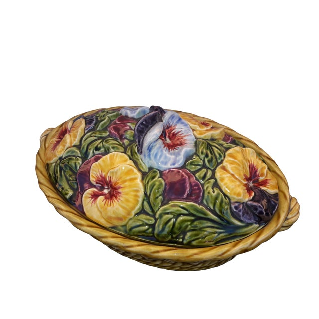 Beautiful and rare French majolica Sarreguemines covered tureen. Hand painted double handled basket overflowing with...