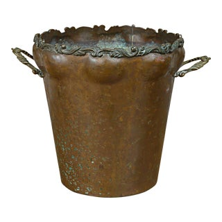20th Century English Hammered Copper Jardiniere For Sale