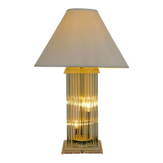 1970 Vintage Gaetano Sciolari Italy Mid Century Modern Brass Glass Rod Lucite Table Lamp For Sale
