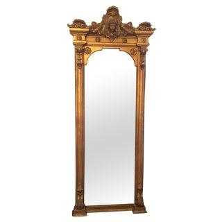 Antique Louis XVI Gilt Wood and Plaster Pier Mirror For Sale