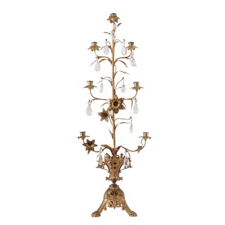 Gilded Candelabra With Glass Teardrops For Sale