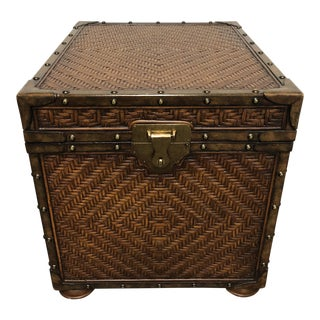 Maitland-Smith Rattan Woven Chest Trunk For Sale