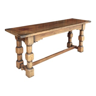Vintage Solid Wood Console Table For Sale