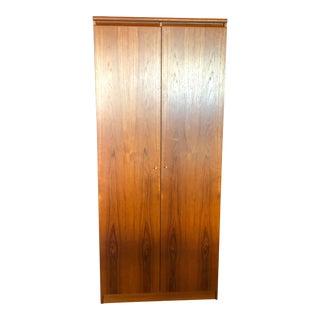 1980s Vintage Danish Teak Wood Armoire With Adjustable Shelving For Sale