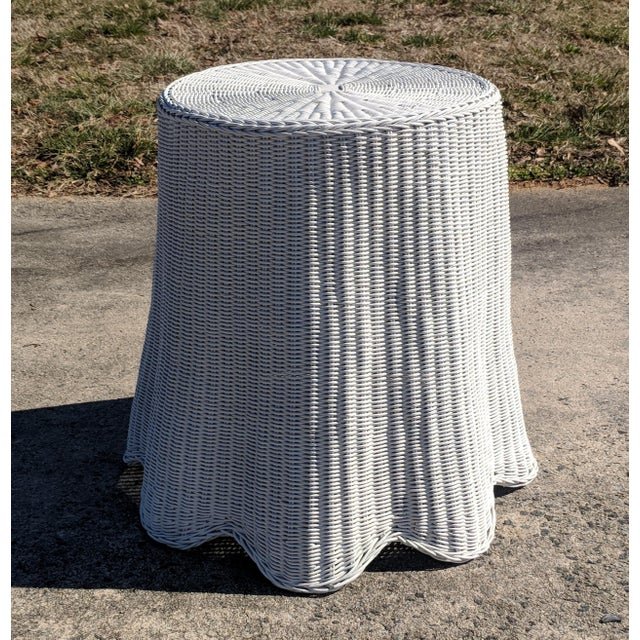 White Trompe l'Oeil Draped White Wicker Rattan Ghost Table For Sale - Image 8 of 10