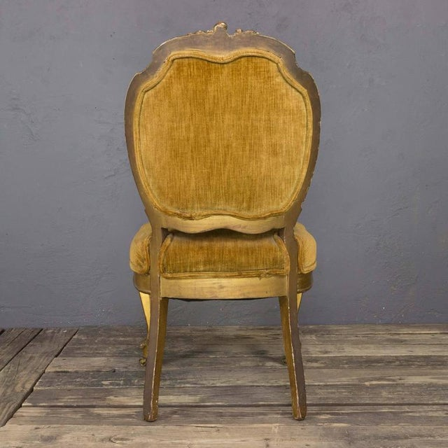 Green Pair of Rococo Revival Giltwood Side Chairs For Sale - Image 8 of 11