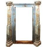 Image of 18th Century Antique Rustic Carved Wood Door Arch For Sale
