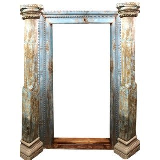 18th Century Antique Rustic Carved Wood Door Arch For Sale