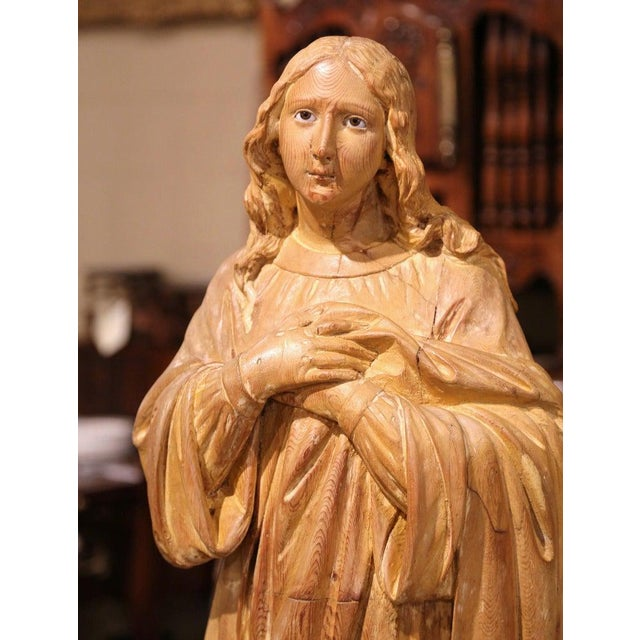 Early 19th Century French Carved Pine Religious Figure on Carved Cloud Form Base For Sale In Dallas - Image 6 of 13