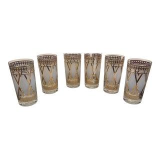 White & Gold Highball Glasses - Set of 6 For Sale