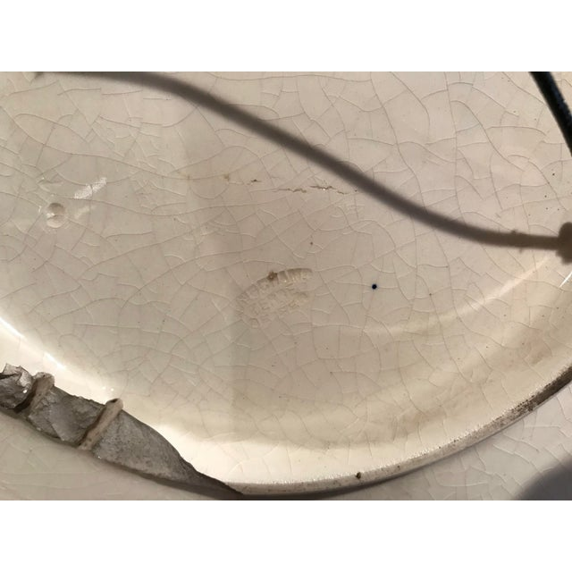 Large 19th Century French Barbotine Wall Platter With Pears From Longchamp For Sale - Image 9 of 10