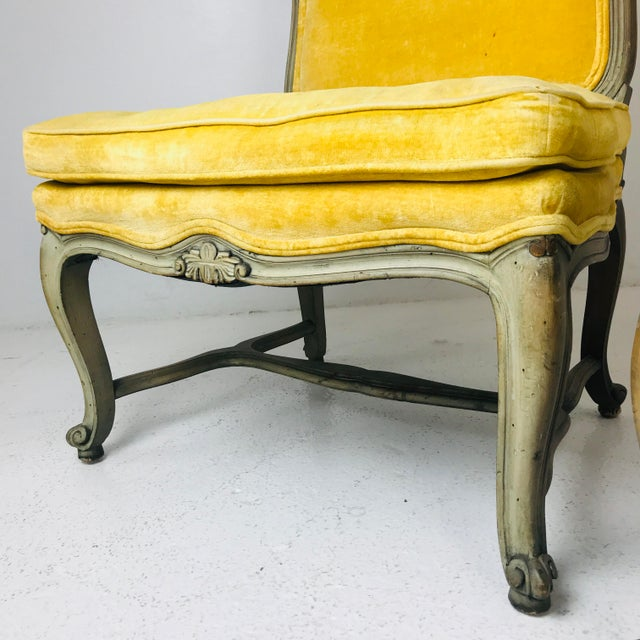 French Pair French Slipper Chairs For Sale - Image 3 of 6