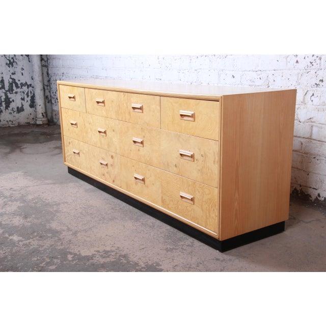 Milo Baughman Style Burl Wood Long Dresser or Credenza by Henredon For Sale - Image 13 of 13