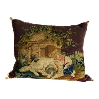 Late 19th Century Antique Purple Needlepoint Pillow For Sale