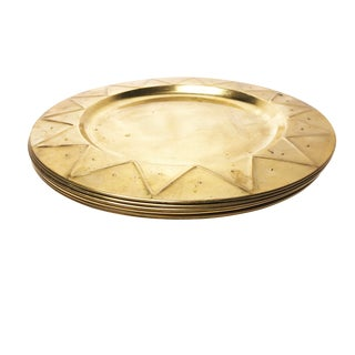 Set of 6 Vintage Mid Century Solid Brass Plates For Sale