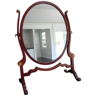 Antique Edwardian Mahogany Oval Dressing Table Mirror For Sale