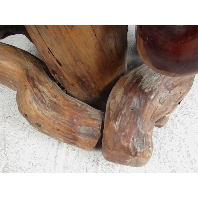 Brown Primitive Live Edge Sculptural Wood Throne Chair For Sale - Image 8 of 11
