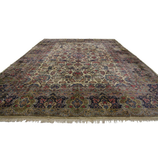 """Abstract Vintage Kerman Art Nouveau Style Rug --11'9"""" X 17'8"""" For Sale - Image 3 of 3"""