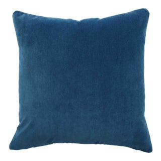FirmaMenta Italian Peacock Blue Velvet Pillow For Sale