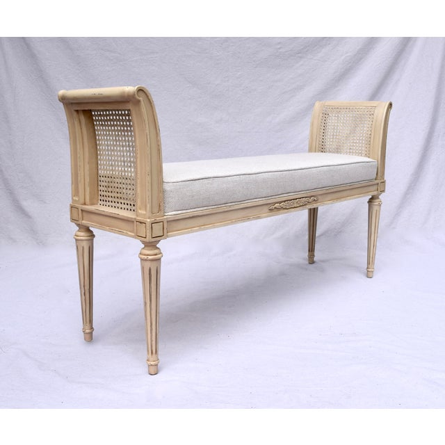 French Vintage Louis XVI-Style Caned Scroll Arm Bench For Sale - Image 3 of 7