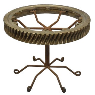 20th Century Brutalist Bronze Elevator Worm Gear Round Side Table For Sale