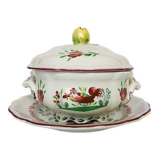 Vintage Saint Clement French Faience Tureen For Sale