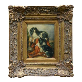 Antique King Charles Cavalier Spaniel Dogs Oil Painting, George Hepper (1839-1868) For Sale