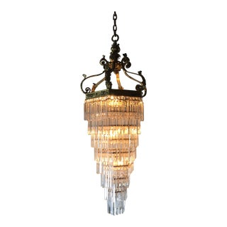 1920s Vintage Brass and Crystal Multi-Tier Chandelier For Sale
