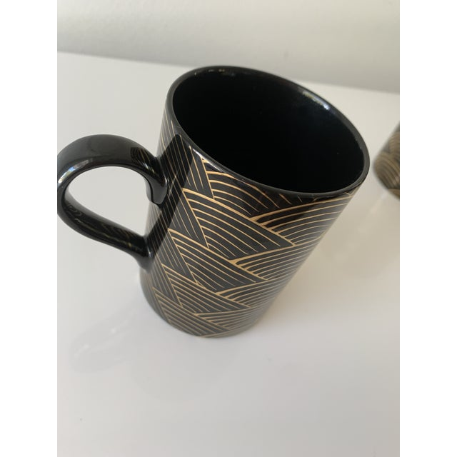"""1980s 1980s Fitz and Floyd Art Deco """"Waves"""" Mugs - Set of 4 For Sale - Image 5 of 7"""