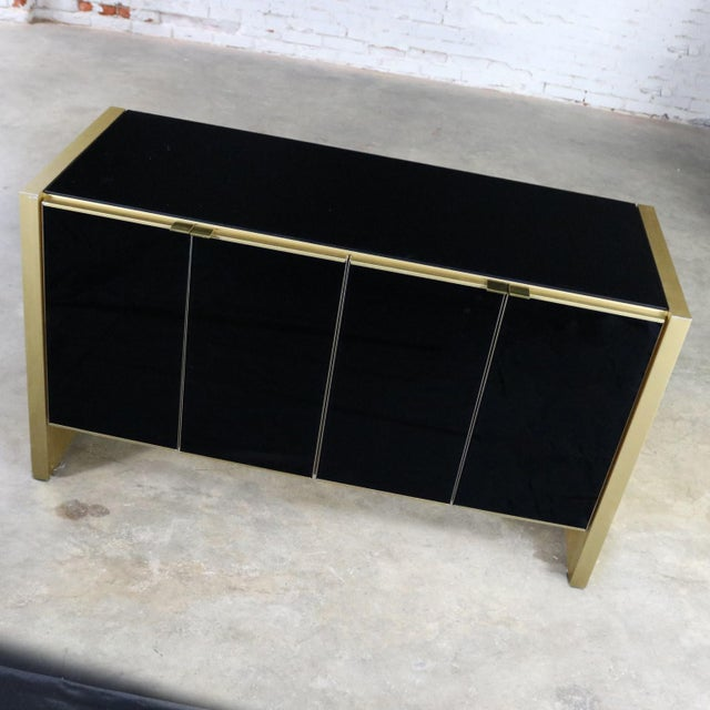 Late 20th Century Ello Black Glass and Gold Anodized Aluminum Small Server Credenza Cabinet For Sale - Image 5 of 13