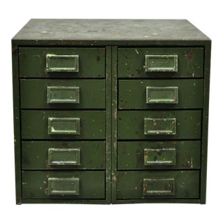 Antique Industrial Steel Metal Machinist 10 Drawer Green Box Chest For Sale