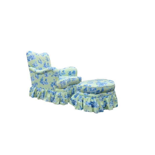 Drexel Heritage Vera Bradley Rolled Arm French Country Club Chair & Ottoman For Sale