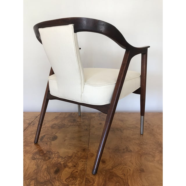 Gio Ponti 1950s Sculptural Mid-Century Modern Walnut Occasional Armchair Attributed to Gio Ponti Edward Wormley Home Office For Sale - Image 4 of 13